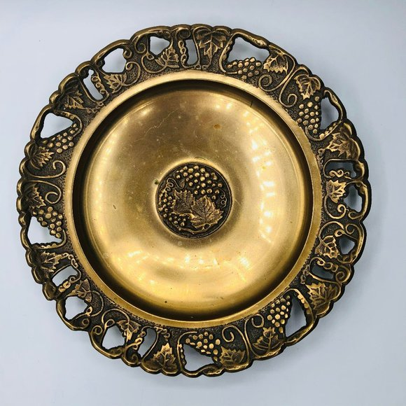 Vintage brass cut out dish